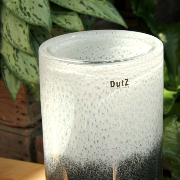 DutZ Vase THICK GLASS, grey-white H32 D18