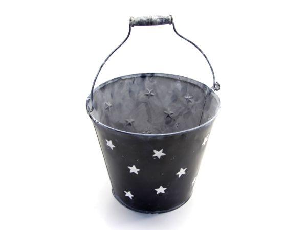 Zink-Eimer Sterne, schwarz D25 H21