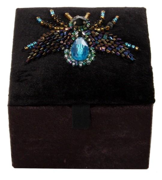 ShiShi SCHMUCKDOSE Samt schwarz, Insekt blau 8x8x7cm
