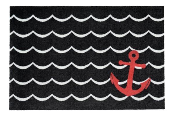 Fußmatte Gift C. WASHABLES 75x50, Anker schwarz-weiß