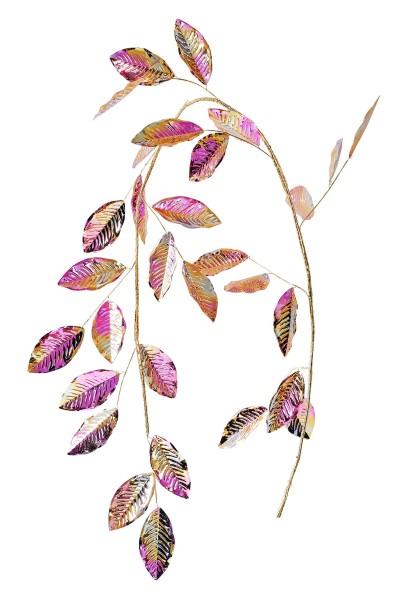 Weihnachten Gift SEOUL Deko-Zweig, Blätter lila/gold iris L150