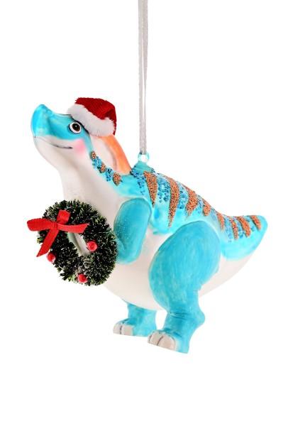 Weihnachten Gift T-REX Hänger, m. Kranz blau
