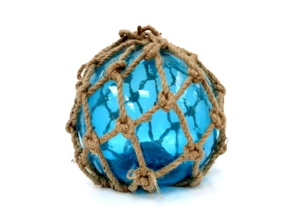 Fischernetz-Glaskugel blau (Deko aus Glas)
