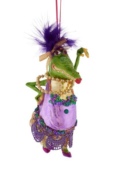 Weihnachten Gift MS.KROKODIL Hänger, Ms.Krokodil mit Schleife lila/grü