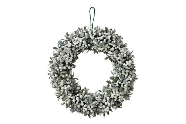 Weihnachten Gift MISTEL Kranz, D50 weiß-grün