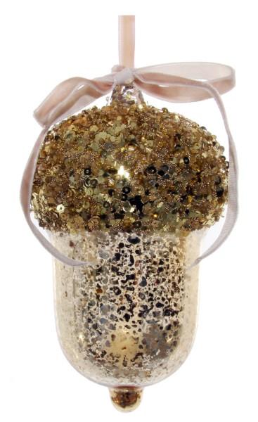 ShiShi GLASEICHEL, antik-goldene Pailletten/Perlen 1