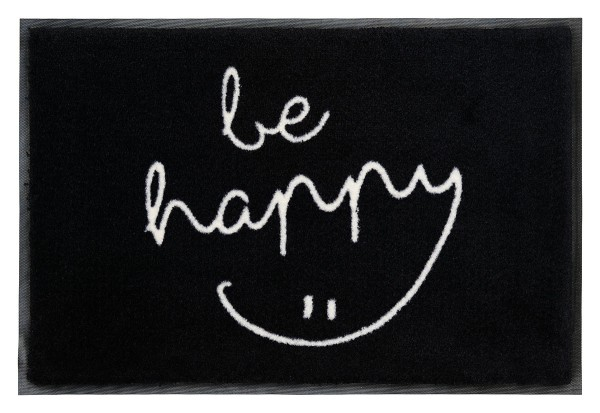 Fußmatte Gift C. WASHABLES 75x50, be happy, schwarz