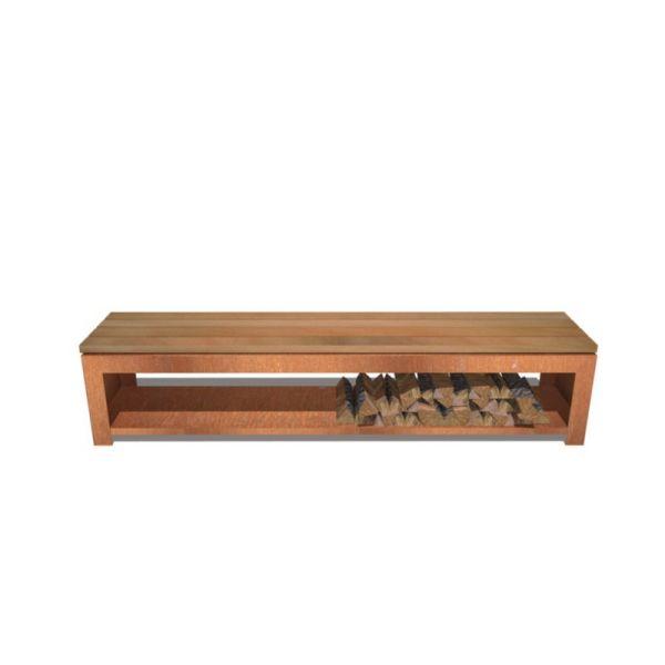 Holzlager BURNI Bank inkl. Holzauflage CorTen Stahl