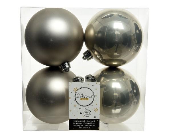 Weihnachten Kae KUGEL bruchfest 4er-Set, dia10cm Nebelgrau