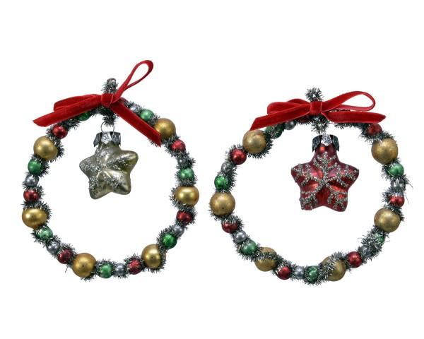 Weihnachten Kae Glas-Stern im Ring 2fs, dia11x2cm assorted