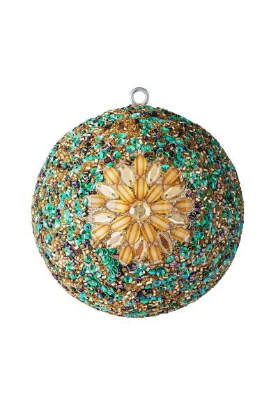 Weihnachten Gift OPIUM Weihnachtskugel, Blumengold. Steine bunt D10
