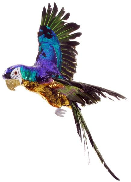 ShiShi PAPAGEI fliegend, gold-blau-grüne Pailetten 75cm