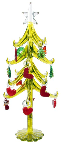 ShiShi GLASBAUM, grün gold. Ornamenten h25cm