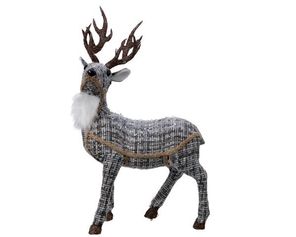 Weihnachten Kae PES Hirsch Glitter-Gewei, 13x24x41cm Blau m/andere Farbe(n